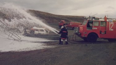 Aviation firefighters using foam contaminated with PFAS at Tullamarine, Victoria in 1998.