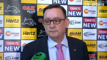 Finalised soon: Penrith Panthers CEO Brian Fletcher discusses the abrupt departure of Phil Gould.