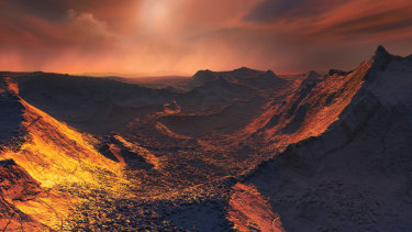 "An artist's impression of the view from the surface of a frozen and dimly lit planet, dubbed a ""Super-Earth"", orbiting Barnard's Star, which is just six light years from  our solar system."