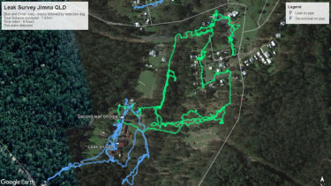 This map tracks the movements of the two dogs following an underground leak they discovered in Jimna in the Somerset region.