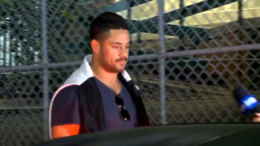 Jarryd Hayne leaving Ryde police station on Monday.