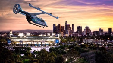 An artists impression of the kind of flying taxi Uber wants to pilot soon.