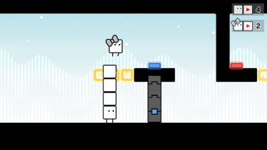 In two player mode, Box Boy and Box Girl need to work together to solve puzzles.