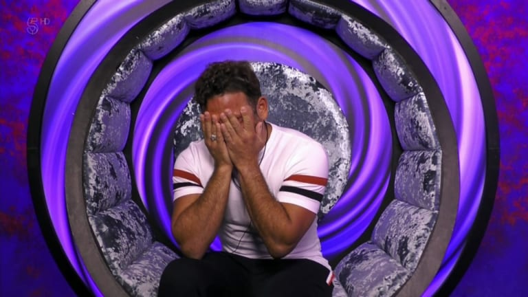 Ryan Thomas in tears over the incident with Pallett in the Celebrity Big Brother house.
