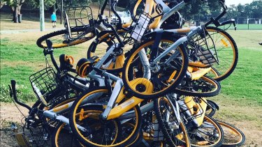 A stack of oBikes at Waverley Oval, Bondi Road, in October.