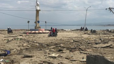 The Talise beachfront in Palu, four days after a tsunami hit.