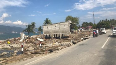 The tsunami left very little standing at Talise beach, Palu.