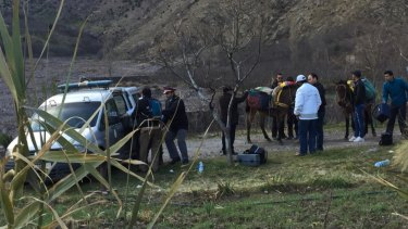 Police attend the scene near Imlil in the High Atlas mountains, Morocco.