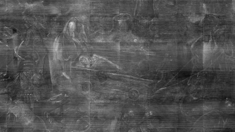 ... X-rays reveal the artist originally depicted a body in the cart.