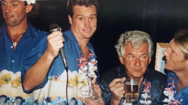 Cheers to that: Bob Hawke with Dwayne Thuys, Guy Andrews and Trevor Hendy at the Bali Oceanman event in 1997.