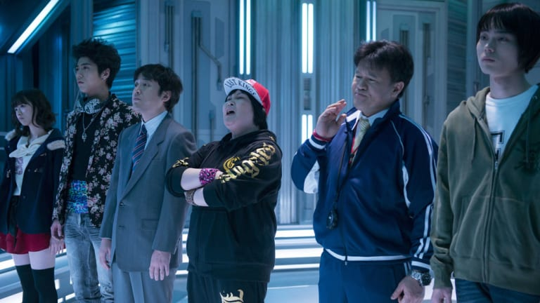 Expect bizarre fun as ordinary Japanese citizens come face to face with aliens in Businessmen vs. Aliens.