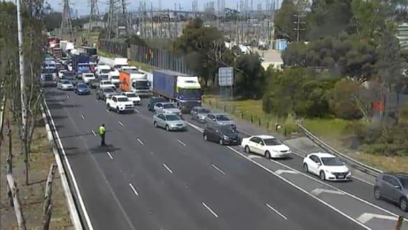 Heavy delays on West Gate Freeway after two-car crash