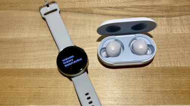 The Samsung Galaxy Watch Active and Galaxy Buds.