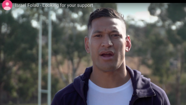 Israel Folau's video that accompanied his appeal for funds last week.