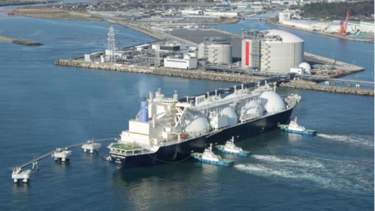 An example of an LNG terminal in Japan.