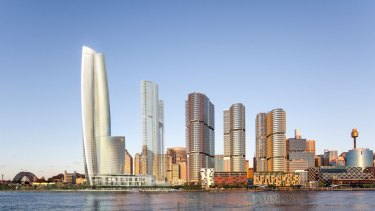 Lendlease has plans for three towers, next to Crown's casino, at Barangaroo South.