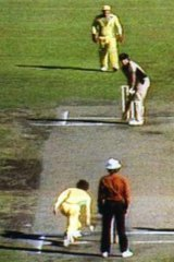 Trevor Chappell rolls the underarm delivery to Brian McKechnie in 1981.