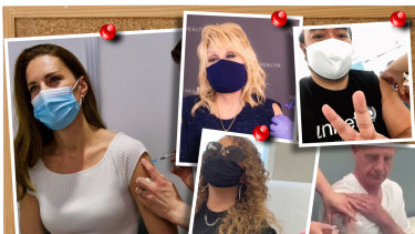 """Celebrities who have shared """"vaxxies"""" include (clockwise from left) the Duchess of Cambridge, Dolly Parton, Adam Liaw, Tasmanian Premier Peter Gutwein and Mariah Carey."""