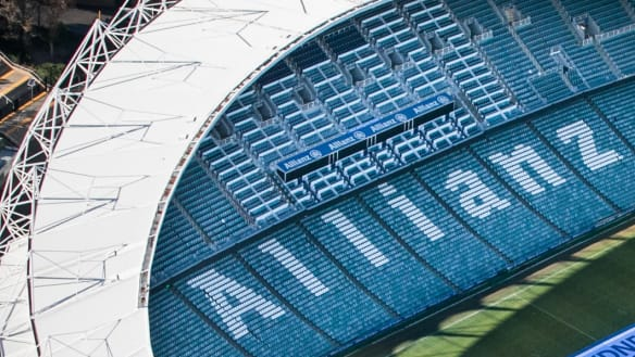 LUMAPIXEL: Blue Sky Aerial Filming for Sydney FC. May 17, 2017. Allianz Stadium, Moore Park, NSW, Australia. Photo: Narelle Spangher Sydney FC unveil their new logo at Allianz Stadium in Sydney on the 17th May 2017. Image supplied.