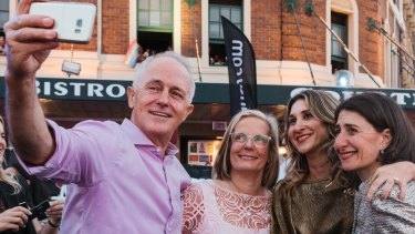 Malcolm Turnbull, Lucy Turnbull and Gladys Berejiklian at the 2018 Gay and Lesbian Mardi Gras.