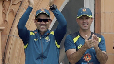 Justin Langer and Ricky Ponting at Lord's during the World Cup.