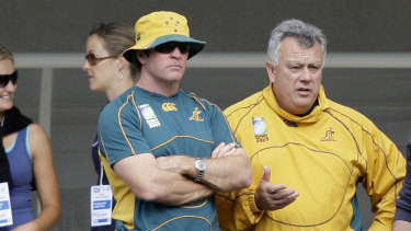 New voice: Michael O'Connor (left) has joined the three-man Wallabies selection panel ahead of the World Cup in Japan.
