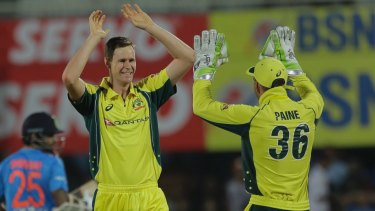 Jason Behrendorff was named man of the match in just his second game for Australia. Photo: AP