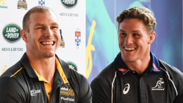 Reunited: David Pocock and Michael Hooper are odds on to be paired in the back row against Ireland.