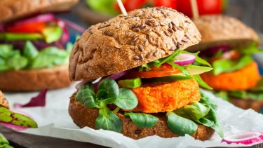 The enemy: veggie beet and carrot burgers.