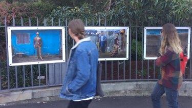 Tariq Zaidi's photographs on display at the Royal Botanic Gardens before they were stolen.