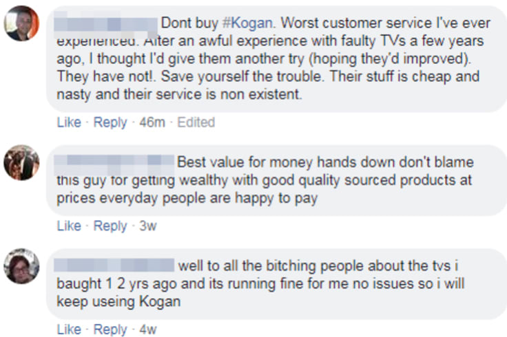 Some of the comments on the Kogan Facebook post.