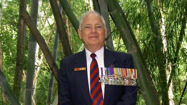 Barry Petersen at Hellfire Pass, Remembrance Day, 2008.