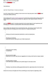 Thrive PR email to talent managers asking for Logies nominees to spruik Queensland.