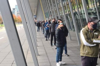 Queues at theMelbourne Convention Centre on Saturday morning.