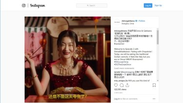Offensive ... customers in China and other Asian countries turned against Dolce & Gabbana after a series of videos showing models eating western foods with chopsticks.
