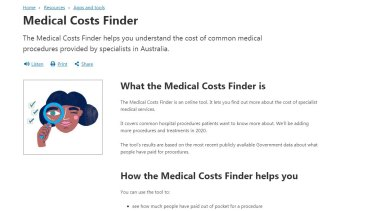 The federal government's Medical Costs Finder website.