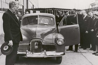 Former Prime Minister Ben Chifley introduces Australia's first car, the Holden 48-215, later known as the Holden FX, at Fisherman's Bend in 1948.