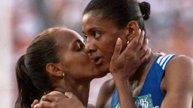 Cathy Freeman (left) and Marie-Jose Perec after Perec's gold medal in the 400m at the 1996 Olympics.