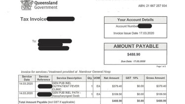 One of the four invoices from Nambour Hospital sent to Jeff billing him for coronavirus testing