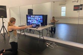 Indi Coady, 19, doing a Zoom class at CDC Studios.