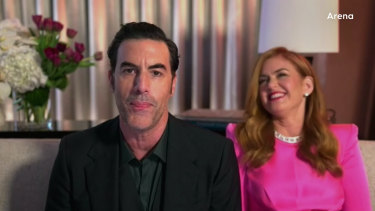 Sacha Baron Cohen and Isla Fisher during the 2021 Golden Globes.