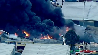 The West Footscray factory fire in August 2018.