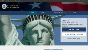 The US visa waiver ESTA website.