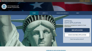 The US visa waiver ESTA website.