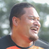 Former Canberra Raiders centre Joey Leilua in his first training session with the Wests Tigers.