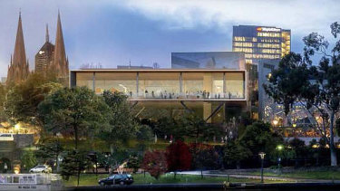 An artist's impression of the second proposal put forward for an Apple store at Federation Square.