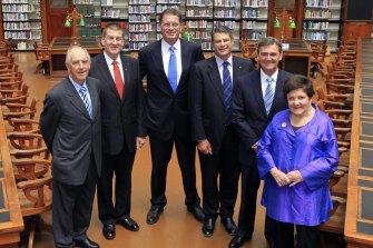 John Cain (left), with his fellow former  premiers Jeff Kennett, Ted Baillieu, Steve Bracks, John Brumby and Joan Kirner, in 2011.