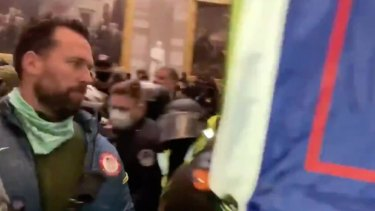 Klete Keller, a US gold medallist in the 2004 and 2008 Olympics, taking part in the January 6 riots.