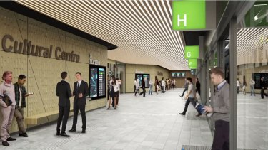 Design image for the underground station at the Cultural Centre.