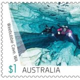 This photo of Trent Lee cave diving in WA featured on a 2017 edition of the $1 postage stamp.